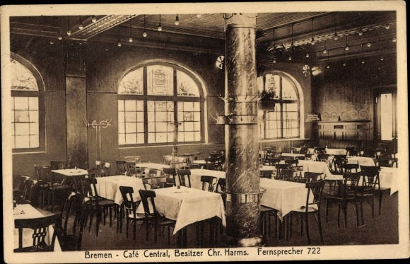 Harms Bremen postcard hansestadt bremen café central bes chr akpool co uk