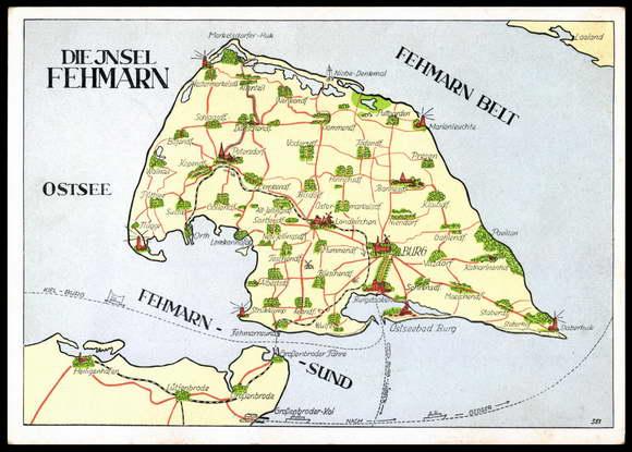 Fehmarn Karte Ostsee.Ansichtskarte Postkarte Insel Fehmarn Landkarte Akpool De
