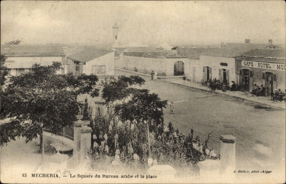 Postcard mecheria algerien le square du bureau arabe akpool