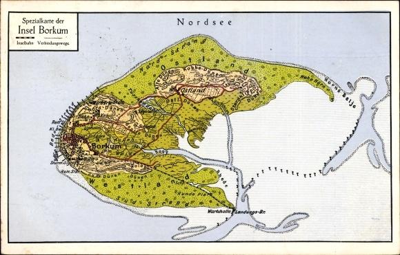 Landkarten Ansichtskarte Postkarte Insel Borkum Im Kreis Akpool De