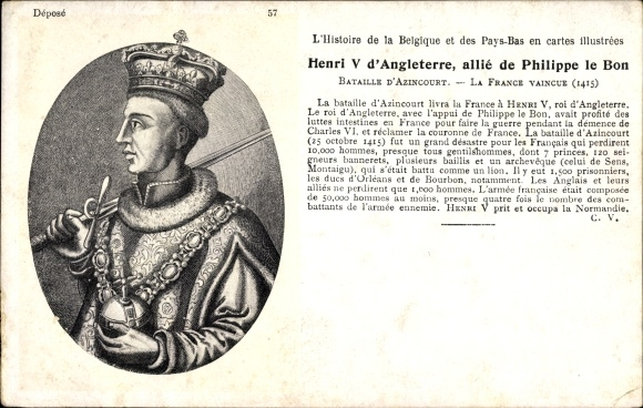 Carte Angleterre Pays Bas.Artiste Carte Postale Henri V D Angleterre Allie De Philippe Le Bon Histoire De La Belgique Et Des Pays Bas
