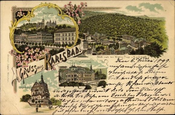 Litho Karlovy Vary Karlsbad Stadt Kurhaus Kaiserbad