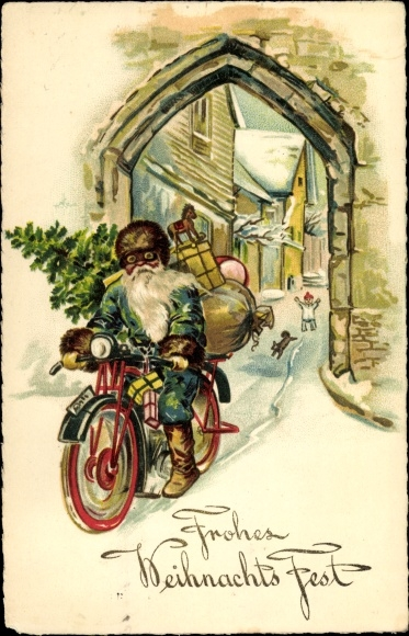 Frohe Weihnachten Motorrad.Ansichtskarte Postkarte Frohe Weihnachten Akpool De