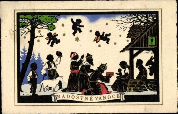 Hirten Bilder Weihnachten.Scherenschnitt Postcard Radostné Vánoce Frohe Akpool Co Uk