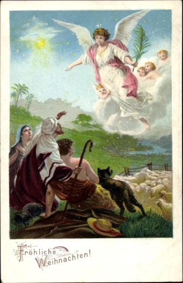 Hirten Bilder Weihnachten.Litho Glückwunsch Weihnachten Engel Kommen Zu Hirten Akpool De