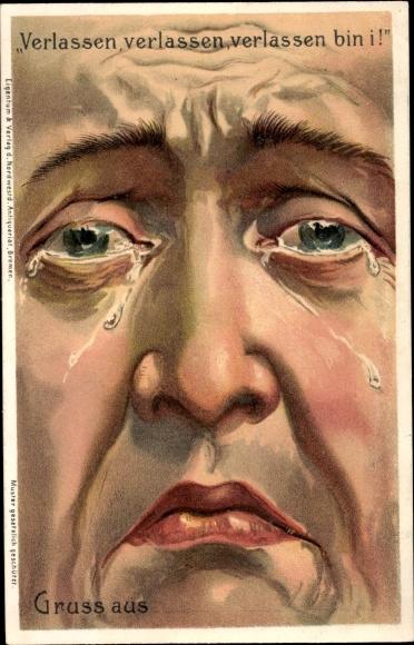 Postcard Verlassen Bin I Trauriges Gesicht Weinender Akpool Co Uk