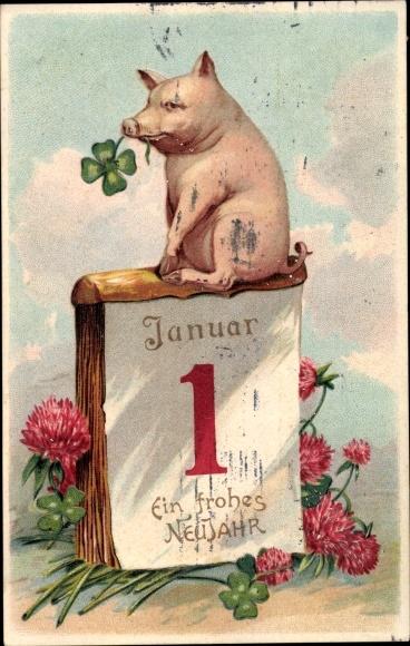 Embossed Postcard Glückwunsch Neujahr Schwein Akpoolcouk