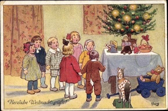 Tannenbaum Singen.Artist Postcard Feiertag Karl Frohe Weihnachten Akpool Co Uk