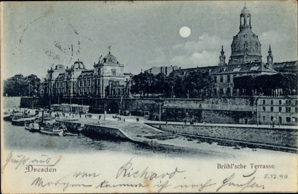 Moonlight Postcard Dresden Altstadt Bruhlsche Akpool Co Uk