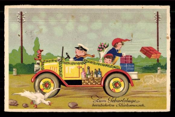 Ansichtskarte Postkarte Gluckwunsche Geburtstag Auto Akpool De