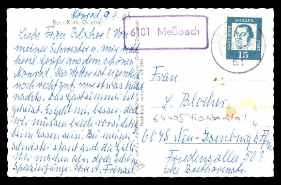 Rückseite Ansichtskarte / Postkarte Nonrod Fischbachtal, Gasthaus Zum Grünen Baum
