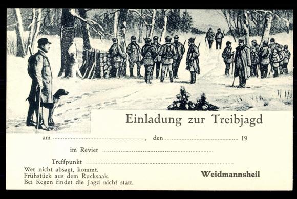 postcard einladung zur treibjagd, jäger, schnee, hund | akpool.co.uk, Einladung
