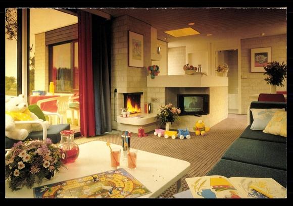 Ansichtskarte Postkarte Center Parcs Fernsehr Wohnungseinrichtung 60er