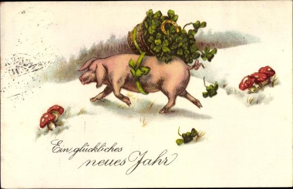Postcard Glückwunsch Neujahr Schwein Mit Kleeblättern Akpoolcouk