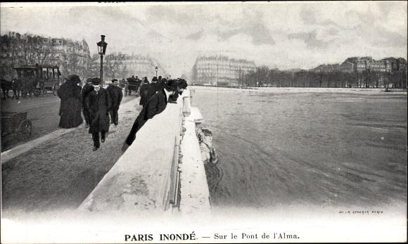 Postcard Paris Frankreich Paris Inonde Sur Le Pont De