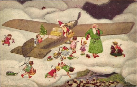 Frohe Weihnachten Flugzeug.Postcard Frohe Weihnachten Weihnachtsmann Im Flugzeug