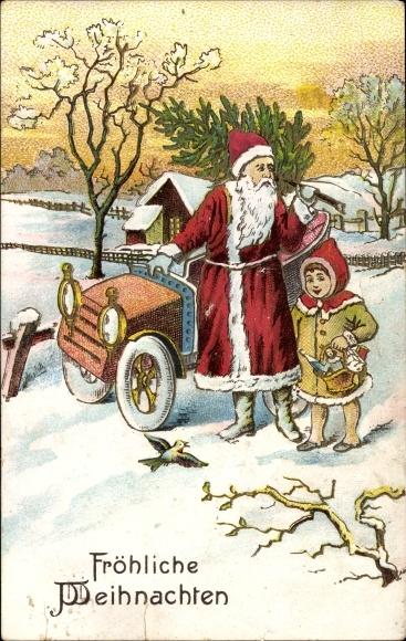 Embossed Postcard Frohe Weihnachten Weihnachtsmann Akpool Co Uk