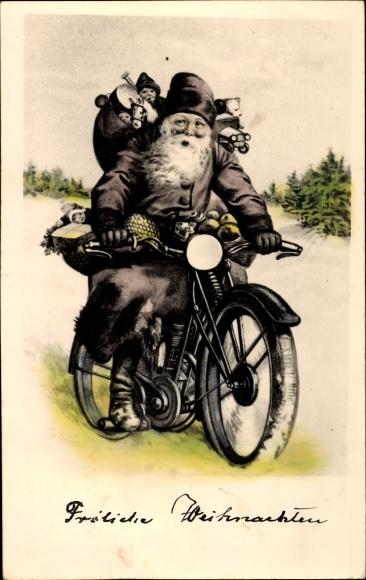 Frohe Weihnachten Motorrad.Postcard Frohe Weihnachten Weihnachtsmann Auf Einem