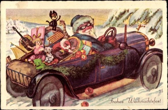 Postcard Frohe Weihnachten Weihnachtsmann Auto Akpool Co Uk