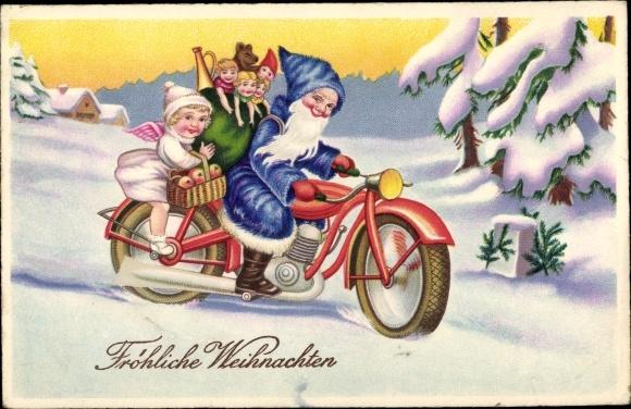 Frohe Weihnachten Motorrad.Postcard Frohe Weihnachten Weihnachtsmann Engel Akpool