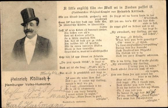Postcard Hamburg Volkshumorist Heinrich Köllisch Akpool