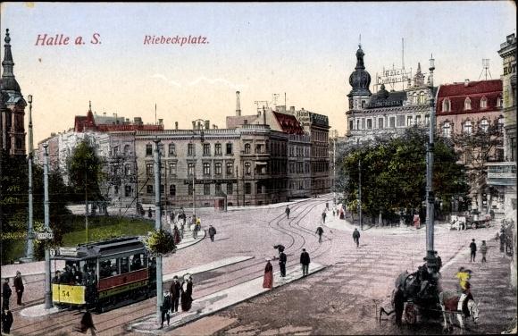 Postcard Halle An Der Saale Partie Am Riebeckplatz Akpoolcouk