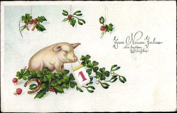 Postcard Glückwunsch Neujahr Schwein Kleeblätter Akpoolcouk
