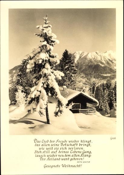 Postcard Frohe Weihnachten Gedicht Von Käte Walter