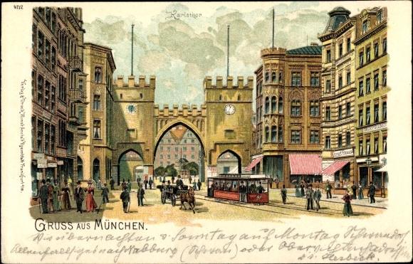 Ansichtskarten Bayern Ak München Karlstor 1900