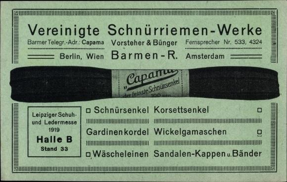 Postcard Barmen Wuppertal, Vereinigte Schnürriemen | akpool.co.uk