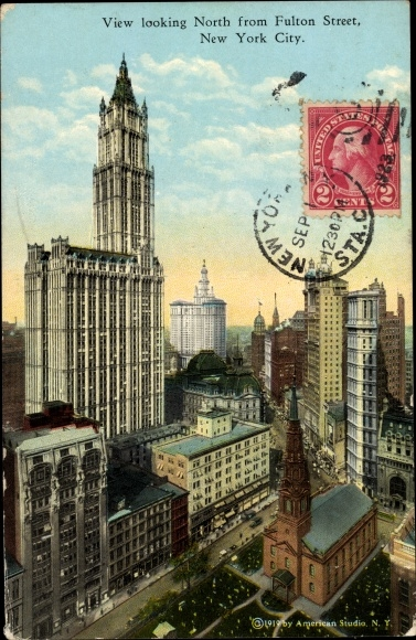 Carte Postale New York.Carte Postale New York City Usa View Looking North From Fulton Street
