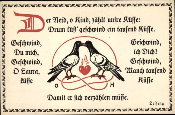 Gedicht Postcard Hupp Otto Lessing Der Neid O Kind