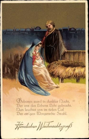 Frohe Weihnachten Jesus.Postcard Frohe Weihnachten Krippenszene Maria Josef