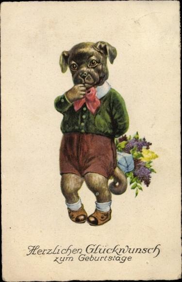 Postcard Gluckwunsch Geburtstag Hund Blumenstrauss Akpool Co Uk