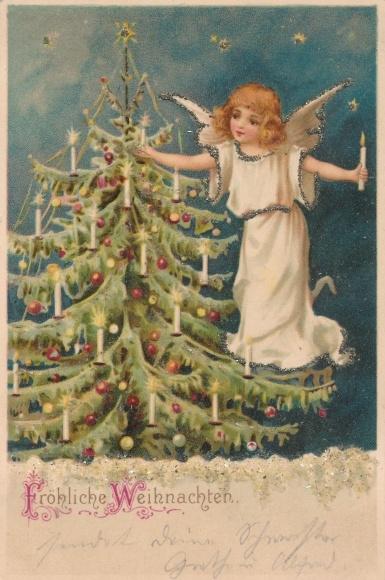 Frohe Weihnachten Glitzer.Glitzer Postcard Frohe Weihnachten Engel Tanne Akpool Co Uk