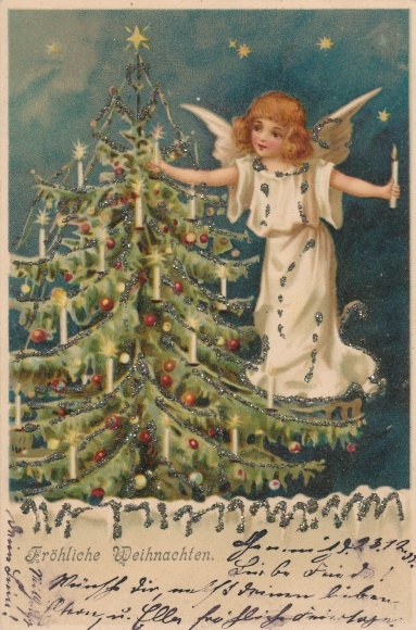Frohe Weihnachten Glitzer.Glitzer Chromo Litho Frohe Weihnachten Engel Steckt Akpool Co Uk