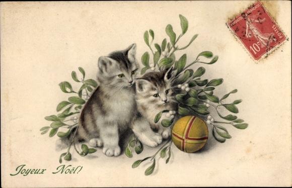 Frohe Weihnachten Katze.Artist Postcard Frohe Weihnachten Joyeux Noel Katzen Akpool Co Uk