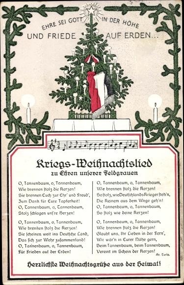 Tannenbaum Lied.Lied Ansichtskarte Postkarte Kriegs Weihnachtslied Akpool De