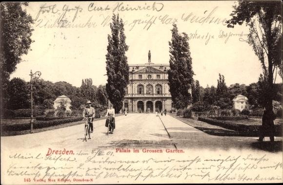 Postcard Dresden Palais Großer Garten Radfahrer Akpoolcouk