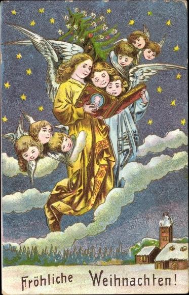 Tannenbaum Buch.Chromo Litho Frohe Weihnachten Engel Mit Buch Akpool Co Uk