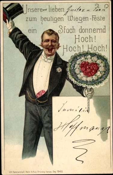 Chromo Litho Gluckwunsch Geburtstag Blumenstrauss Mann Akpool Co Uk