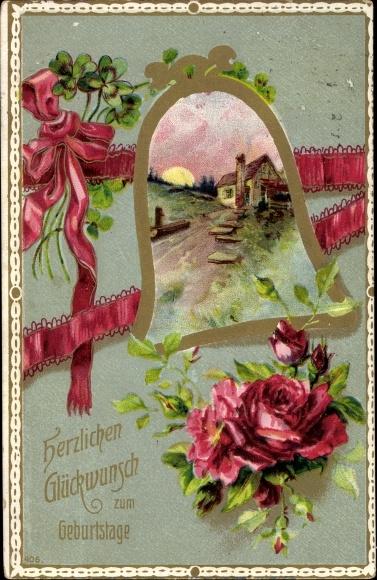 Postcard Glückwunsch Geburtstag Glocke Blumen Akpoolcouk
