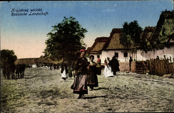 Postcard Russische Landschaft Hauser Reetdacher Akpool Co Uk