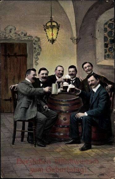 Postcard Gluckwunsch Geburtstag Manner Bei Einem Bier Akpool Co Uk