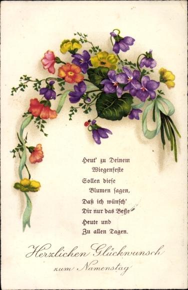 Postcard Glückwunsch Namenstag Blumen Gedicht Akpoolcouk