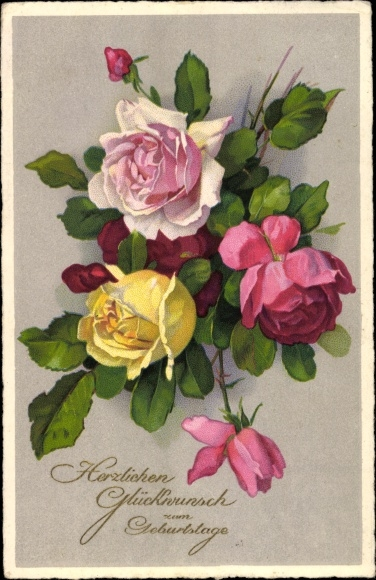 Postcard Glückwunsch Geburtstag Blumen Rosen Akpoolcouk