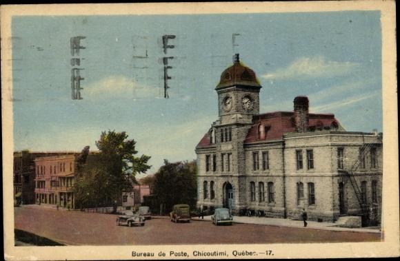 Postcard chicoutimi québec kanada bureau de poste akpool
