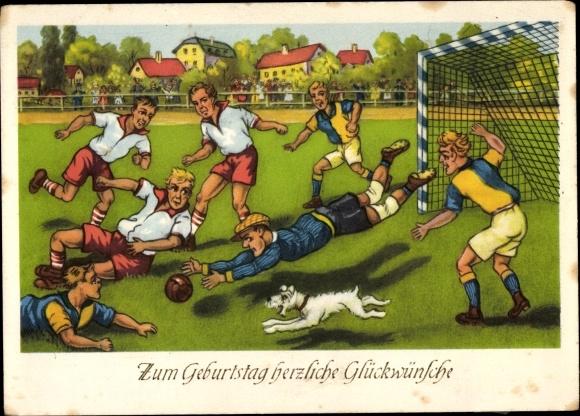 Postcard Glückwunsch Geburtstag Fußballspiel Torwart Akpoolcouk