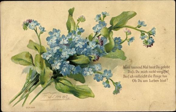 Embossed Artist Postcard Vergissmeinnicht Gedicht Akpool