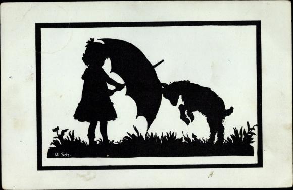 Scherenschnitt Postcard Kleines Mädchen Mit Schirm Akpoolcouk